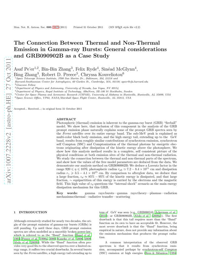 Asaf Pe'er - The Connection Between Thermal and Non-Thermal Emission in Gamma-ray Bursts: General Considerations and GRB090902B as a Case Study